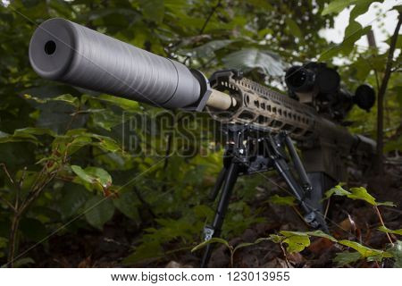 Suppressor on the end of a semi automatic rifle in the bushes