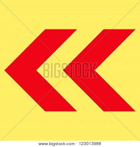 Shift Left vector icon. Image style is flat shift left pictogram symbol drawn with red color on a yellow background.