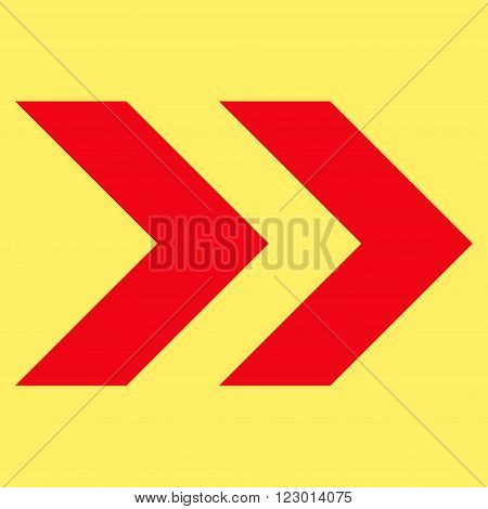 Shift Right vector icon symbol. Image style is flat shift right icon symbol drawn with red color on a yellow background.