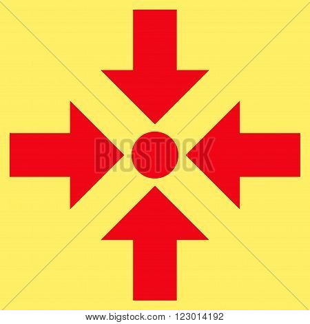 Shrink Arrows vector icon. Image style is flat shrink arrows iconic symbol drawn with red color on a yellow background.
