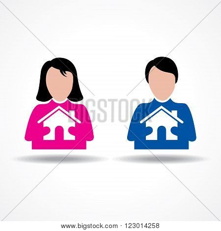 Male and Female thinking about their home stock vector