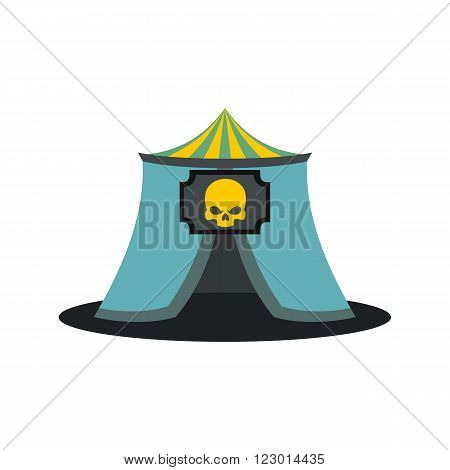Haunted house icon in flat style isolated on white background