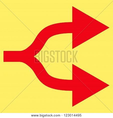 Split Arrows Right vector symbol. Image style is flat split arrows right pictogram symbol drawn with red color on a yellow background.