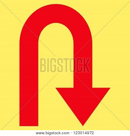 Turn Back vector symbol. Image style is flat turn back iconic symbol drawn with red color on a yellow background.