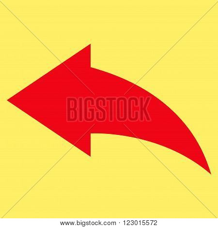 Undo vector icon. Image style is flat undo iconic symbol drawn with red color on a yellow background.