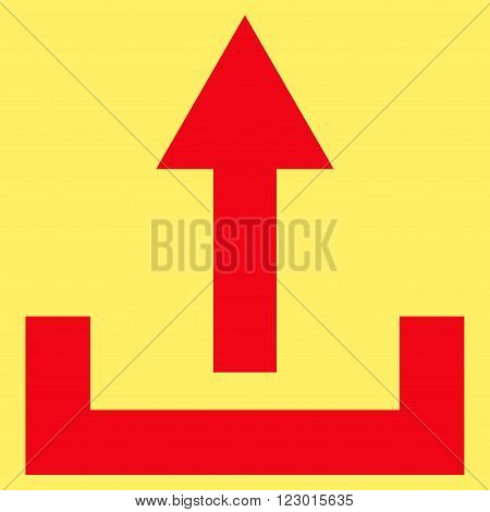 Upload vector pictogram. Image style is flat upload iconic symbol drawn with red color on a yellow background.