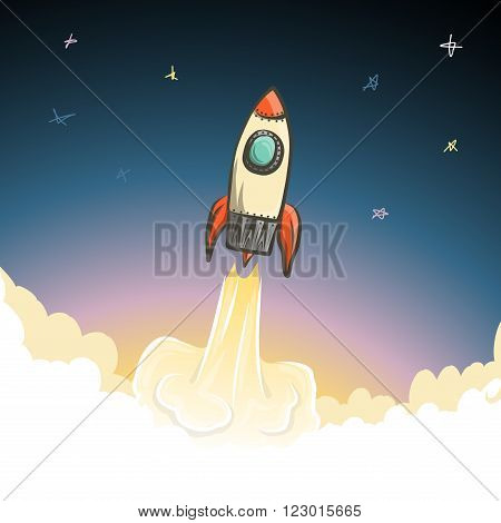 Rocket start to open space, vector illustration for Your design, eps10