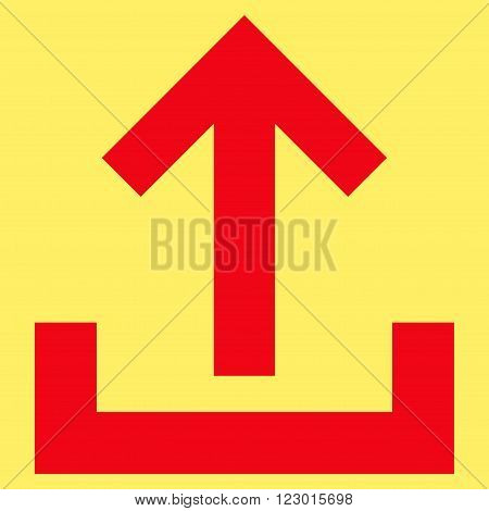 Upload vector icon. Image style is flat upload icon symbol drawn with red color on a yellow background.