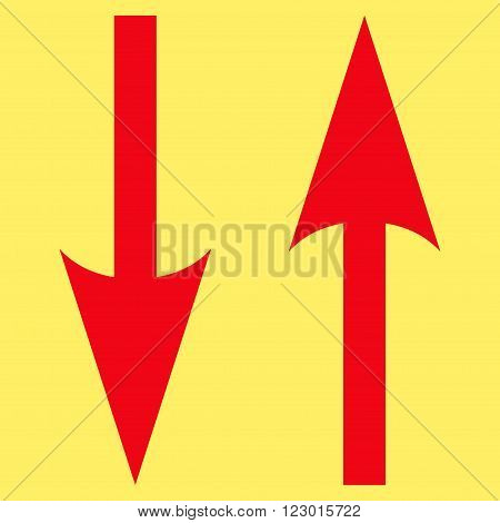 Vertical Exchange Arrows vector icon symbol. Image style is flat vertical exchange arrows icon symbol drawn with red color on a yellow background.