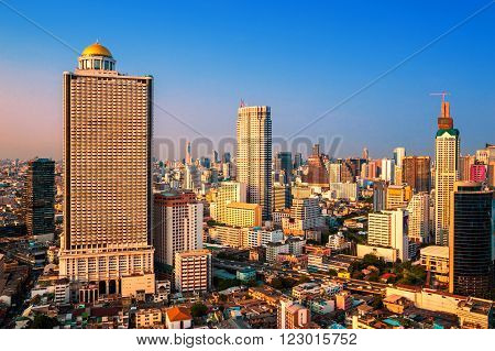 Building downtown Bangkok in the evening , Thailand