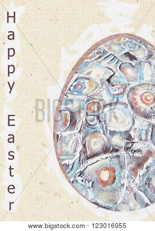 Happy Easter greeting card. Illustration with Easter egg. Acrylic hand painting. Illustration for greeting cards invitations and other printing projects.Acrylic Painting element.