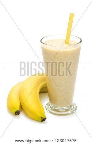 banana milk smoothies with straws and banana fruit on a white background