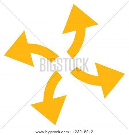 Centrifugal Arrows vector symbol. Image style is flat centrifugal arrows iconic symbol drawn with yellow color on a white background.