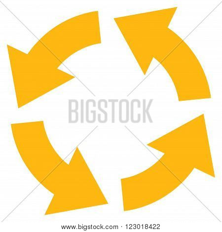 Circulation vector icon. Image style is flat circulation icon symbol drawn with yellow color on a white background.
