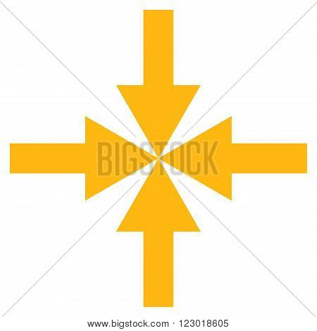 Compress Arrows vector icon symbol. Image style is flat compress arrows iconic symbol drawn with yellow color on a white background.