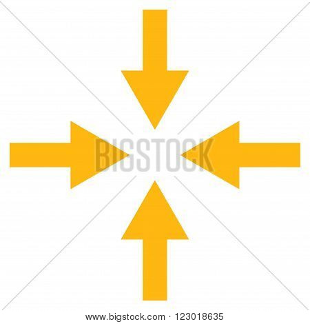 Compress Arrows vector icon. Image style is flat compress arrows pictogram symbol drawn with yellow color on a white background.