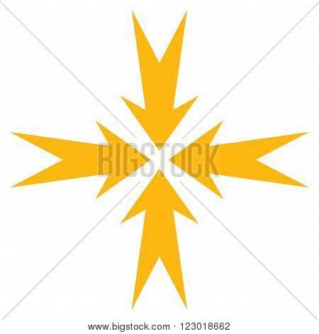 Compression Arrows vector icon symbol. Image style is flat compression arrows icon symbol drawn with yellow color on a white background.