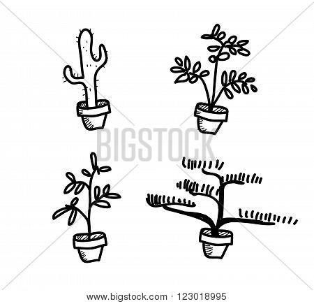 Plant Vegetation Pot Doodle, a hand drawn vector doodle illustration of four plant vegetation pots.