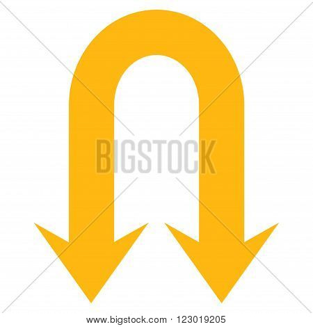 Double Back Arrow vector icon symbol. Image style is flat double back arrow icon symbol drawn with yellow color on a white background.