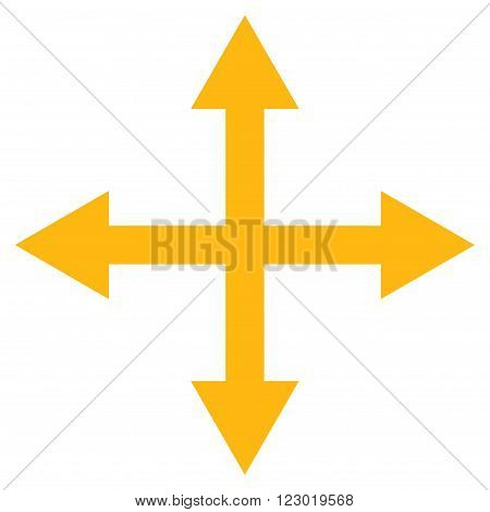 Expand Arrows vector symbol. Image style is flat expand arrows icon symbol drawn with yellow color on a white background.