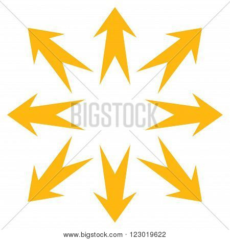 Expand Arrows vector symbol. Image style is flat expand arrows iconic symbol drawn with yellow color on a white background.