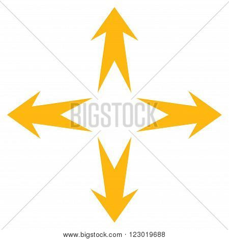 Expand Arrows vector symbol. Image style is flat expand arrows pictogram symbol drawn with yellow color on a white background.