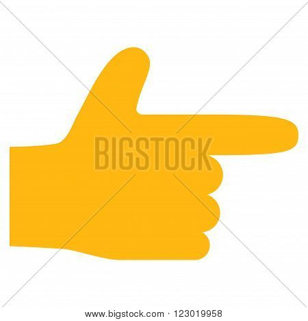 Hand Pointer Right vector icon. Image style is flat hand pointer right iconic symbol drawn with yellow color on a white background.
