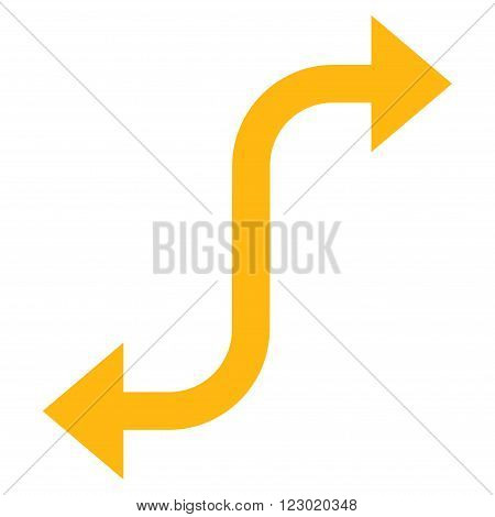 Opposite Bend Arrow vector icon. Image style is flat opposite bend arrow icon symbol drawn with yellow color on a white background.