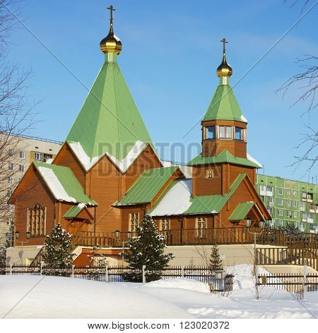 Orthodox Church in the Northern town of Russia. Winter