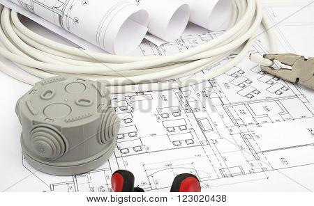 Architecture plan and rolls of blueprints with cabel and grey plastic cover. Building concept