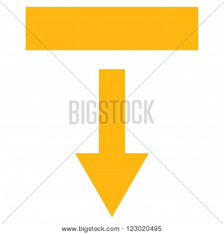 Pull Down vector pictogram. Image style is flat pull down icon symbol drawn with yellow color on a white background.