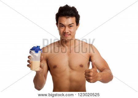 Muscular Asian Man Thumbs Up With Whey Protein