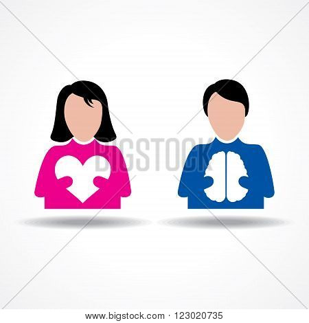 Male Female icon having heart and brain stock vector