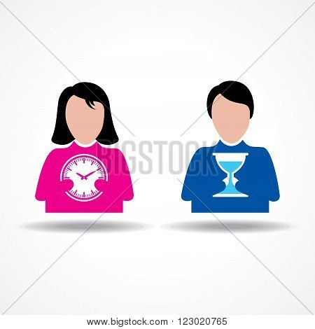 Male and Female icon having clock stock vector