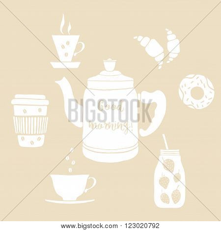 Isolated drinks for breakfast. Vector illustration with pot, cups, mason jar. Hand drawn drinks with lettering Good Morning. Drink vector icons on beige background. Coffee, fruit smoothie, tea, pot.