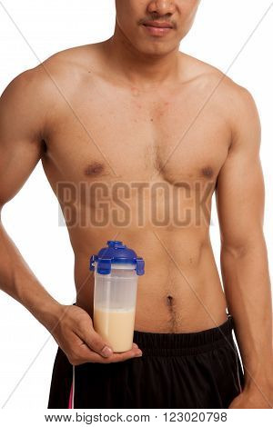 Muscular Asian Man Show His Six Pack Abs Whey Protein