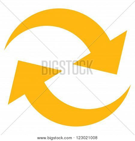 Refresh Arrows vector pictogram. Image style is flat refresh arrows iconic symbol drawn with yellow color on a white background.