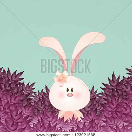 illustration of Funny bunny with pink leaves