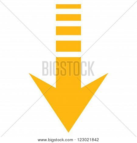 Send Down vector pictogram. Image style is flat send down pictogram symbol drawn with yellow color on a white background.