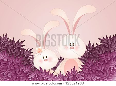 illustration of a couple of rabbits with leaves