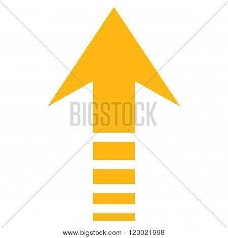 Send Up vector icon. Image style is flat send up pictogram symbol drawn with yellow color on a white background.