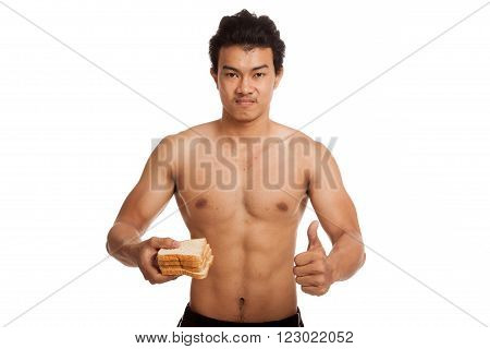 Muscular Asian Man Thumbs Up Load Carbs With Some Bread