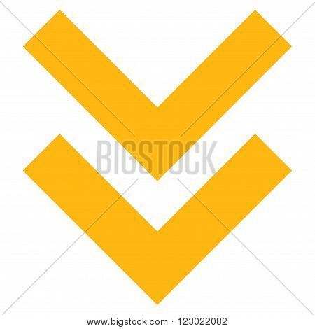 Shift Down vector icon symbol. Image style is flat shift down icon symbol drawn with yellow color on a white background.