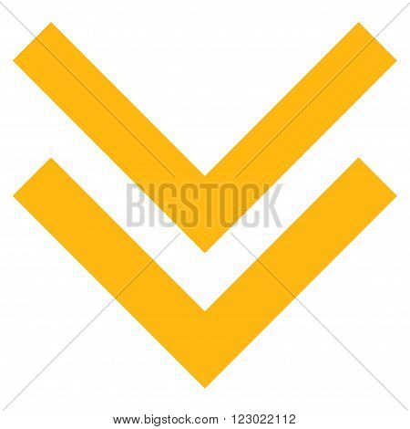 Shift Down vector pictogram. Image style is flat shift down icon symbol drawn with yellow color on a white background.