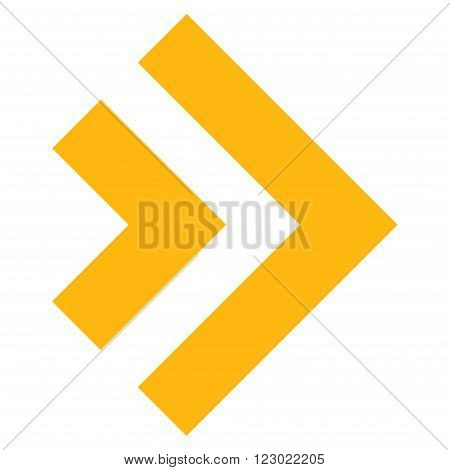 Shift Right vector icon. Image style is flat shift right icon symbol drawn with yellow color on a white background.
