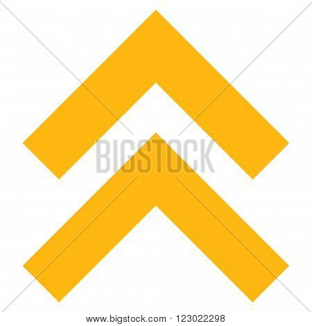 Shift Up vector icon. Image style is flat shift up iconic symbol drawn with yellow color on a white background.
