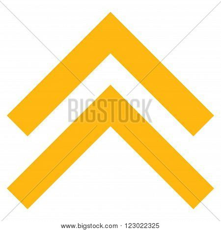 Shift Up vector icon symbol. Image style is flat shift up icon symbol drawn with yellow color on a white background.