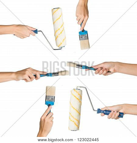 Set of human hands holding brush and paint roller isolated on white background, top view