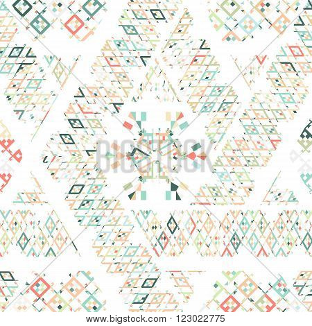 Vector Tribal Mexican ethnic texture, pattern with stripes, geometrical triangles. Vintage art print ornament backdrop. Colorful repeating background. Cloth design, wallpaper, wrapping, business