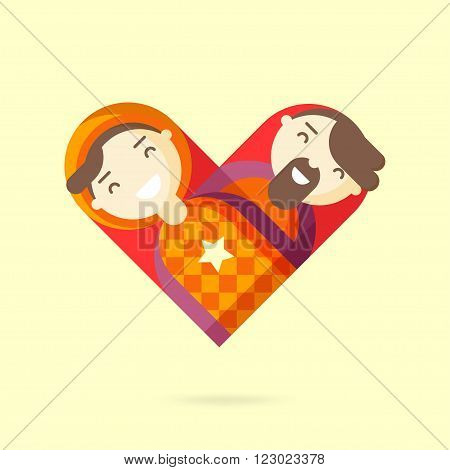 Happy gay couple. Homosexual design element. Vector illustration.